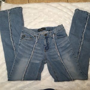 Express jeans frayed seems sz 26